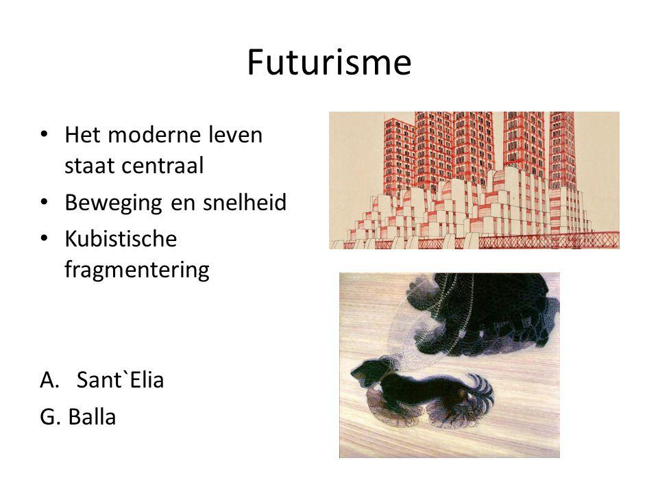 Futurisme Het moderne leven staat centraal Beweging en snelheid