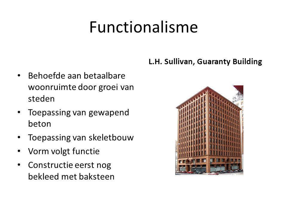 Functionalisme L.H. Sullivan, Guaranty Building. Behoefde aan betaalbare woonruimte door groei van steden.