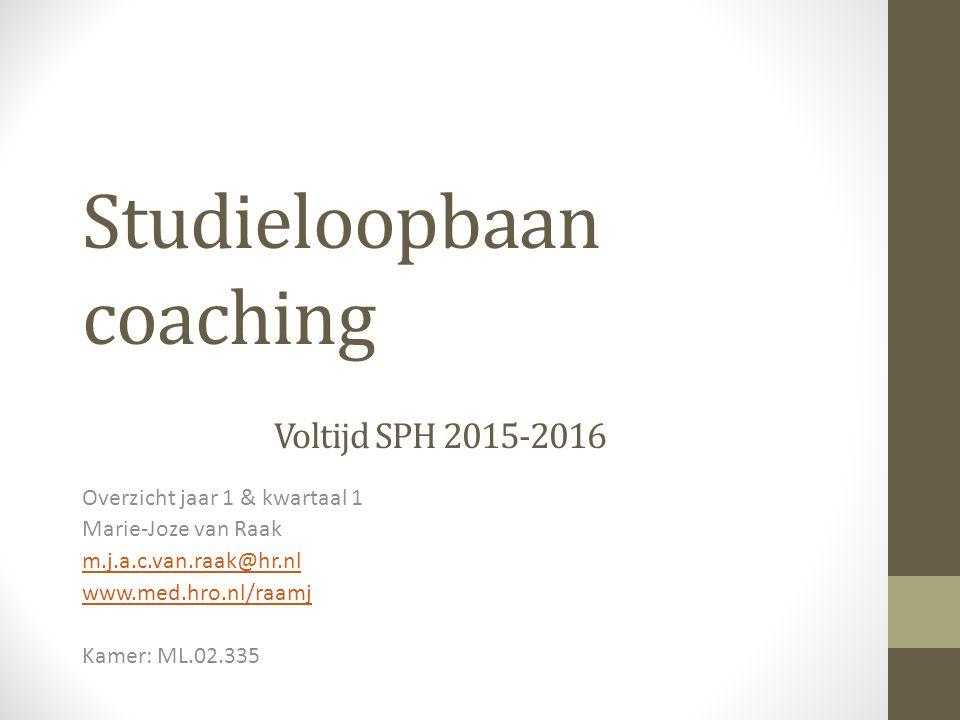 Studieloopbaan coaching Voltijd SPH 2015-2016
