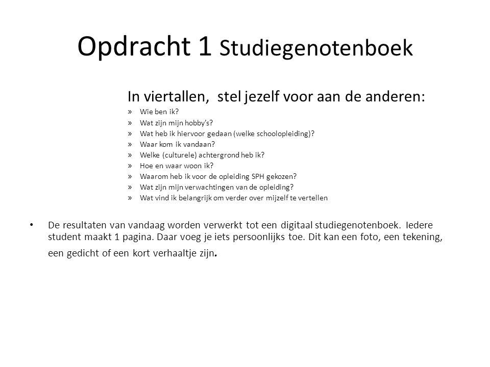 Opdracht 1 Studiegenotenboek