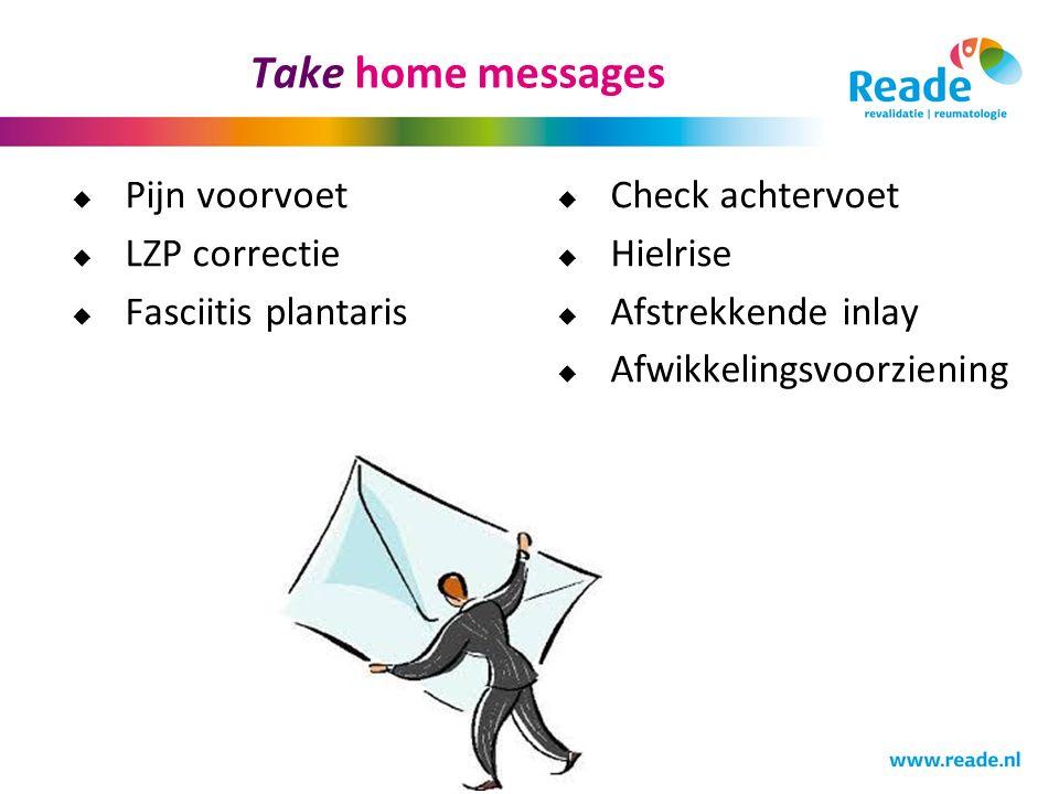Take home messages Pijn voorvoet LZP correctie Fasciitis plantaris