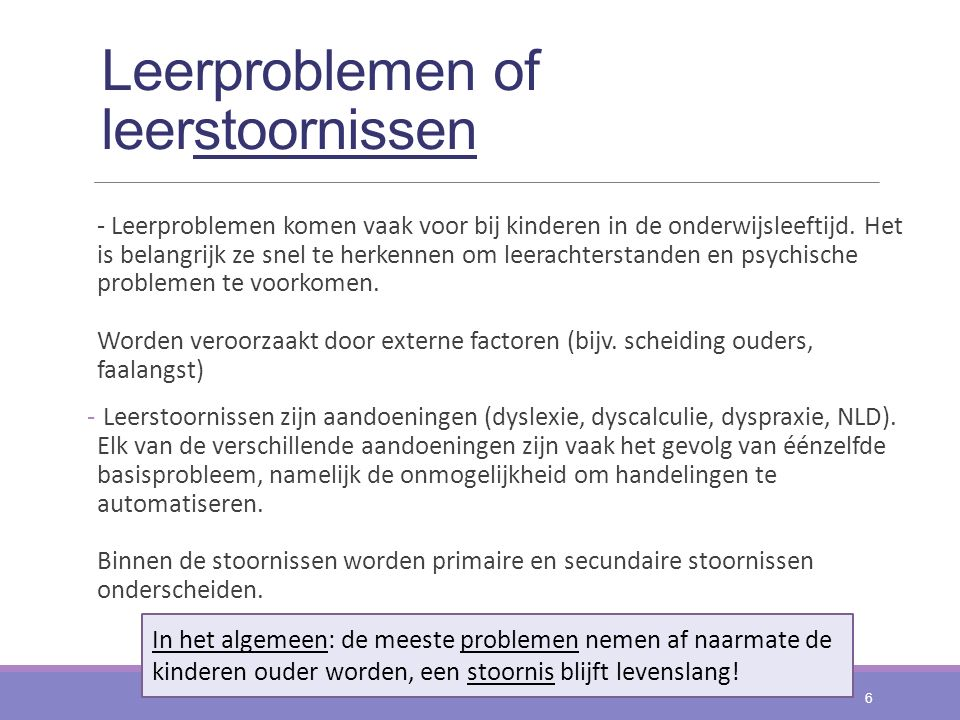 Leerproblemen of leerstoornissen