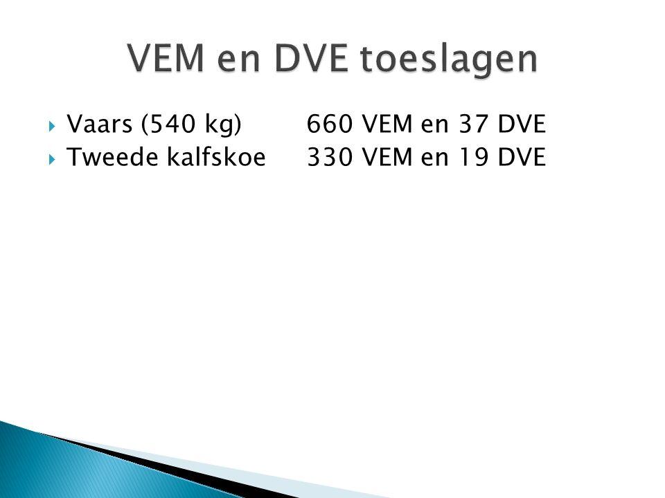 VEM en DVE toeslagen Vaars (540 kg) 660 VEM en 37 DVE