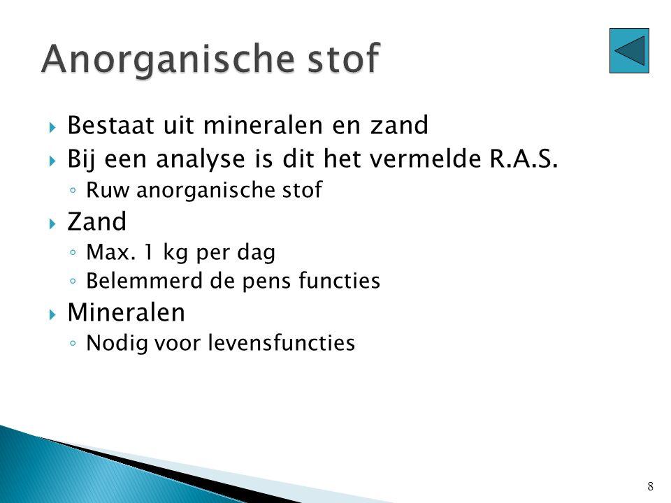 Anorganische stof Bestaat uit mineralen en zand