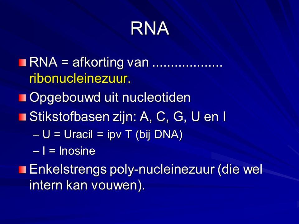 RNA RNA = afkorting van ................... ribonucleinezuur.