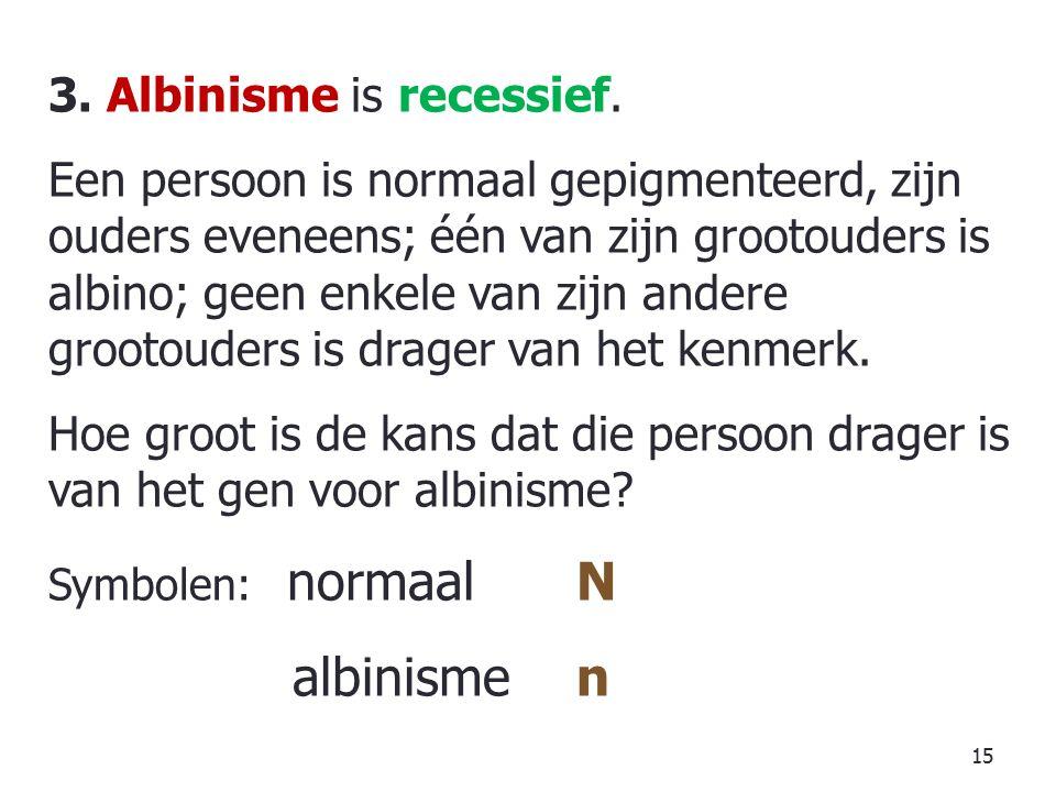 albinisme n 3. Albinisme is recessief.
