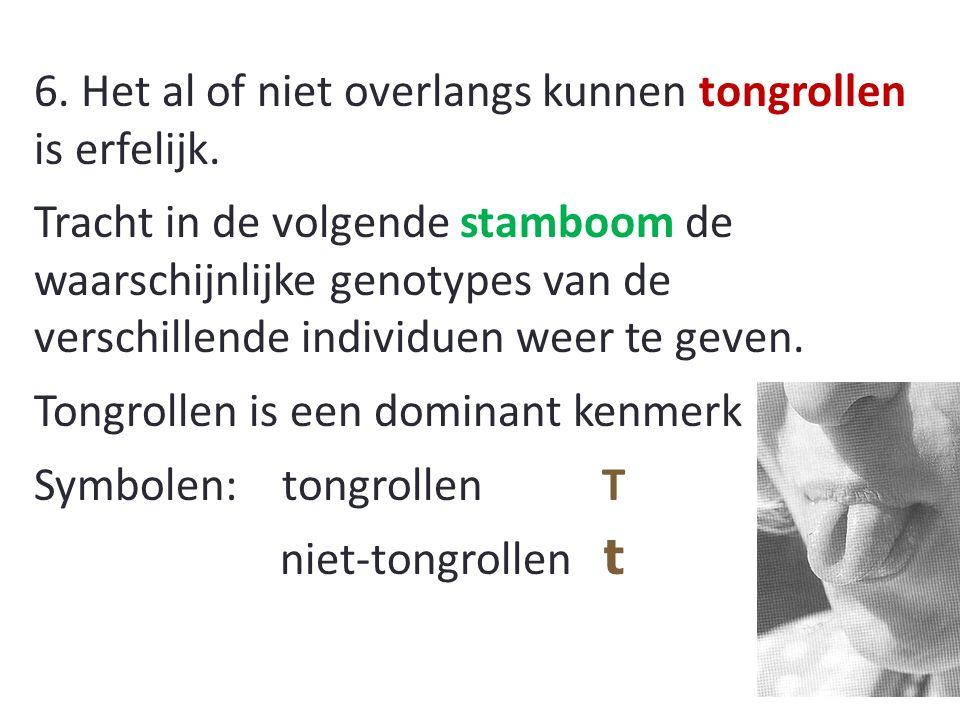 6. Het al of niet overlangs kunnen tongrollen is erfelijk.