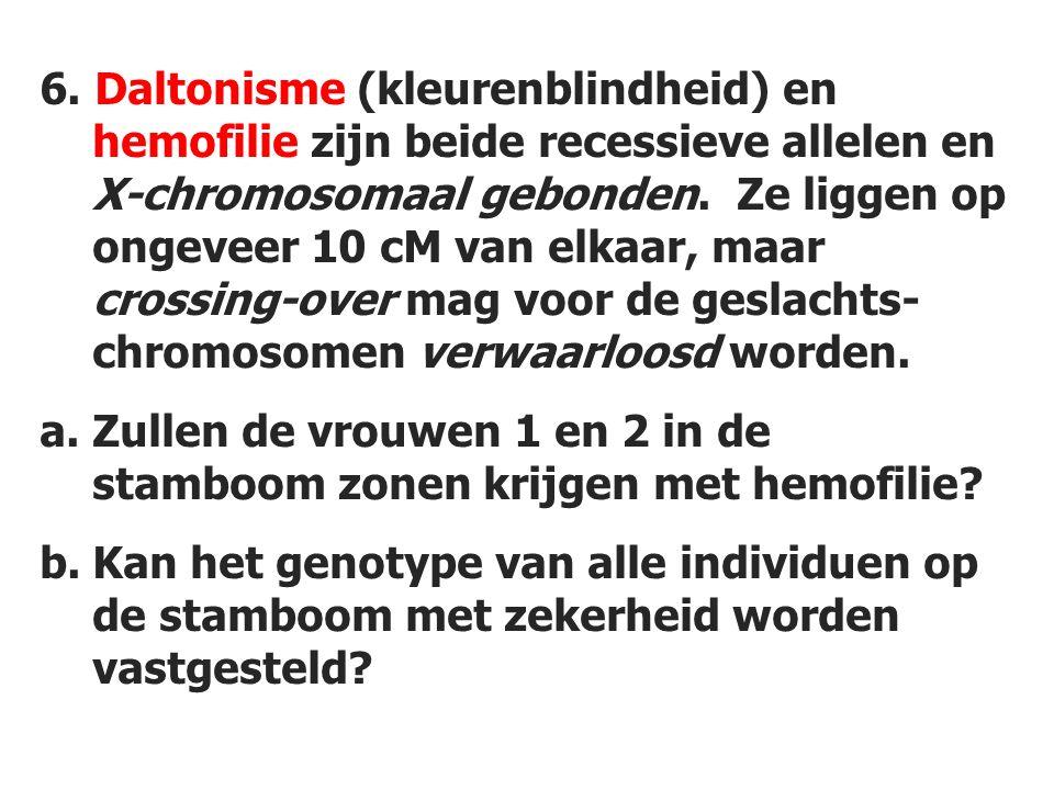 6. Daltonisme (kleurenblindheid) en hemofilie zijn beide recessieve allelen en X-chromosomaal gebonden. Ze liggen op ongeveer 10 cM van elkaar, maar crossing-over mag voor de geslachts-chromosomen verwaarloosd worden.