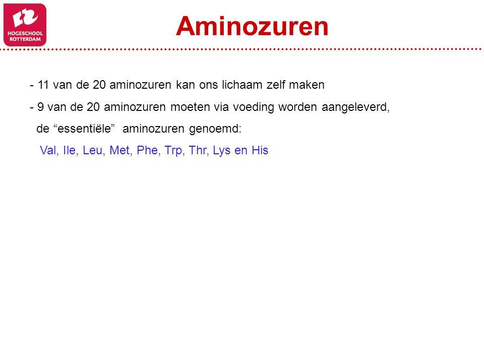 Aminozuren 11 van de 20 aminozuren kan ons lichaam zelf maken