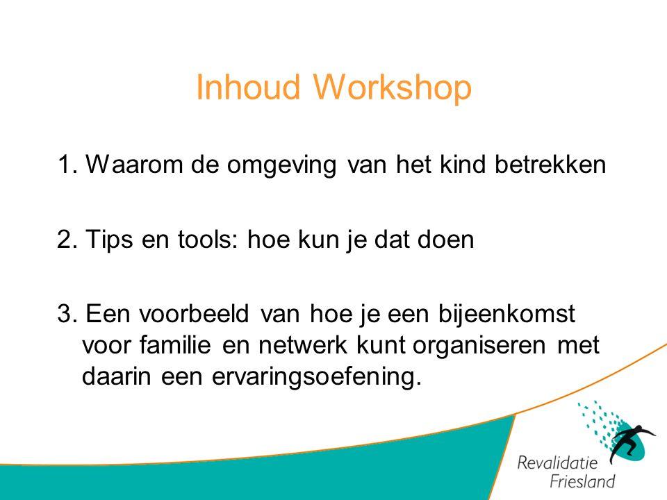 Inhoud Workshop 1. Waarom de omgeving van het kind betrekken