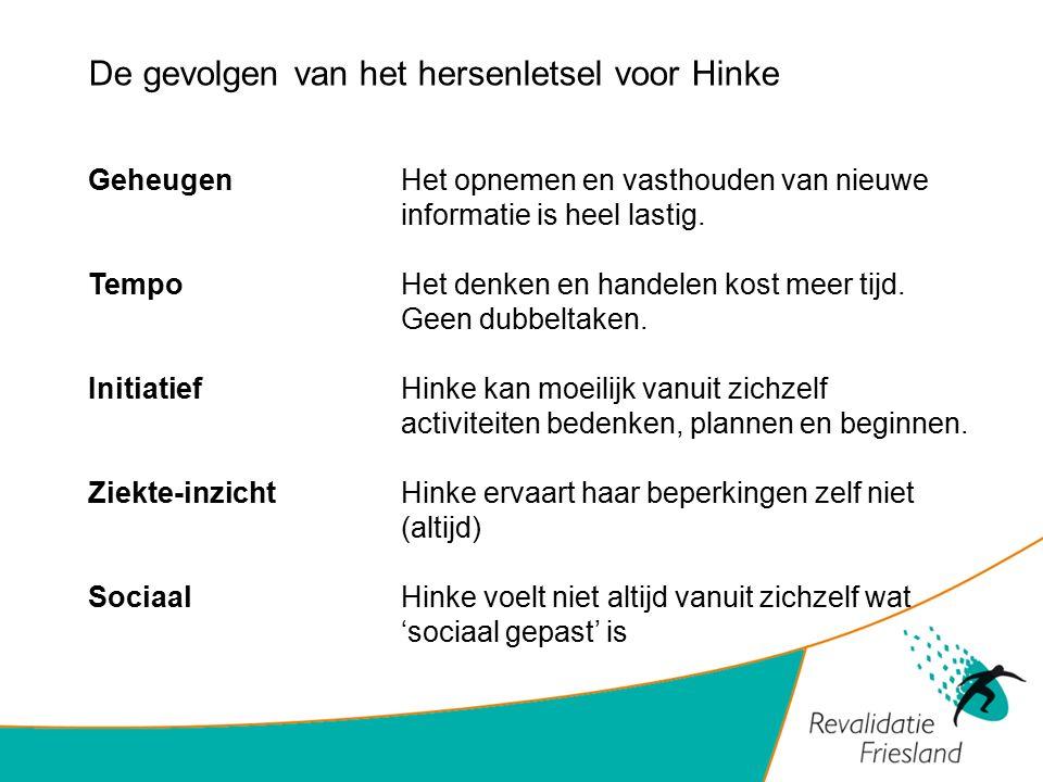 De gevolgen van het hersenletsel voor Hinke