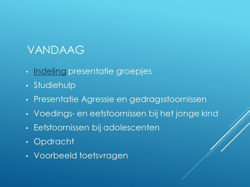 Vandaag Indeling presentatie groepjes Studiehulp