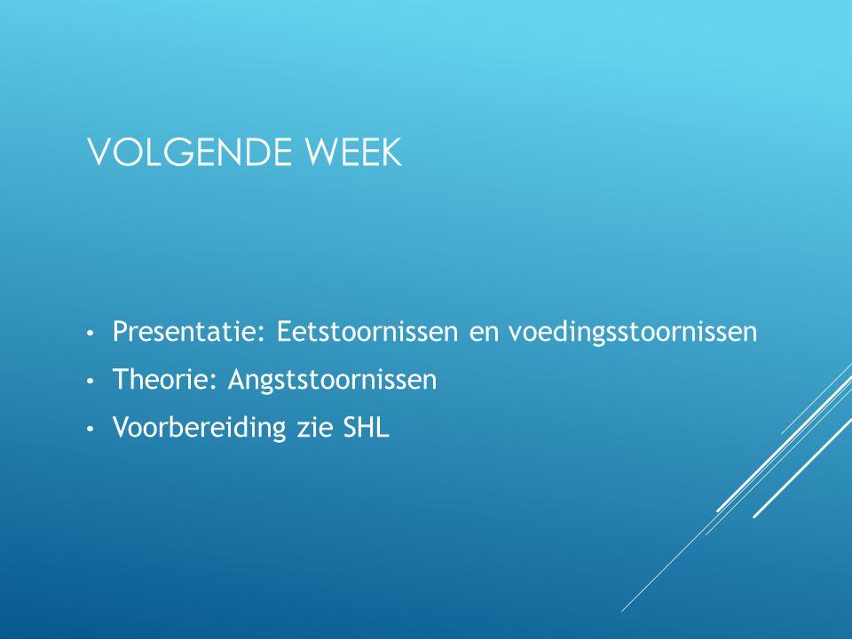 Volgende week Presentatie: Eetstoornissen en voedingsstoornissen