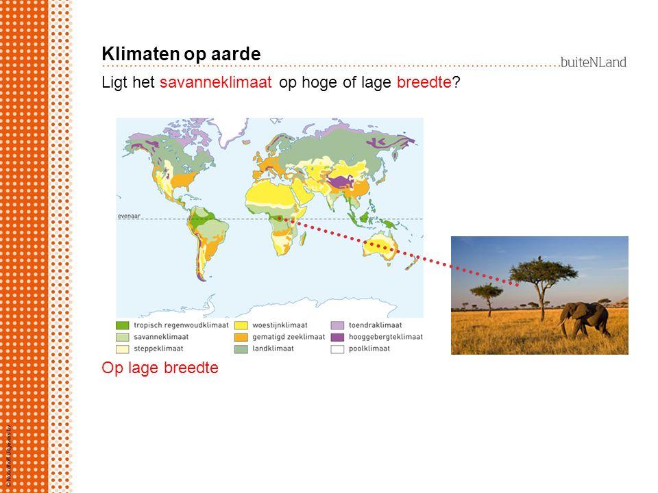 Klimaten op aarde Ligt het savanneklimaat op hoge of lage breedte