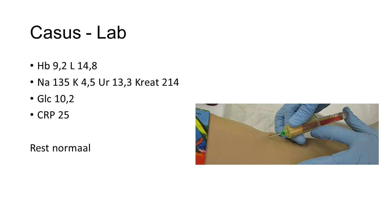 Casus - Lab Hb 9,2 L 14,8 Na 135 K 4,5 Ur 13,3 Kreat 214 Glc 10,2