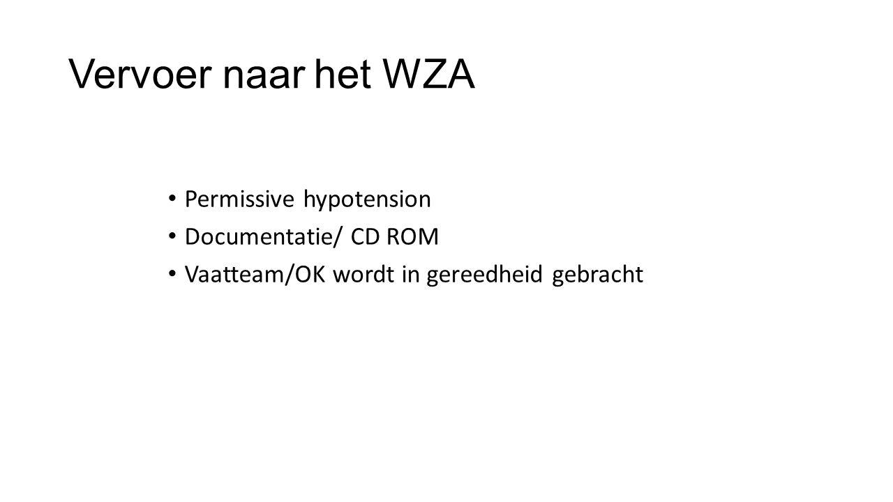 Vervoer naar het WZA Permissive hypotension Documentatie/ CD ROM