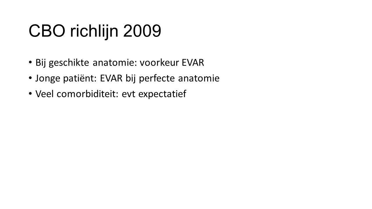 CBO richlijn 2009 Bij geschikte anatomie: voorkeur EVAR