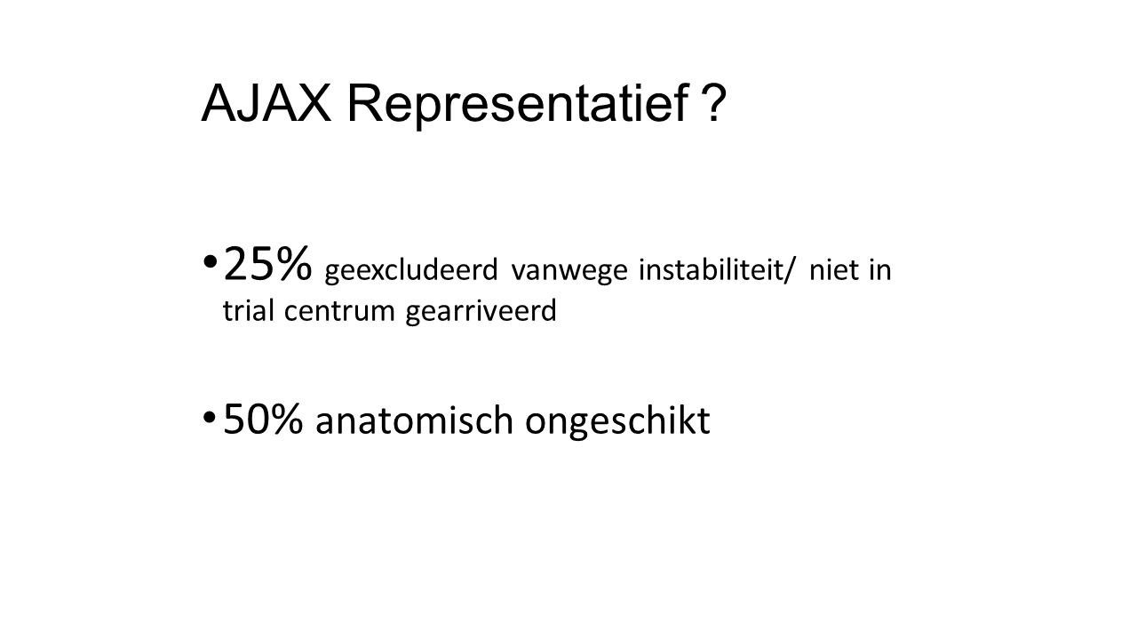 AJAX Representatief . 25% geexcludeerd vanwege instabiliteit/ niet in trial centrum gearriveerd.