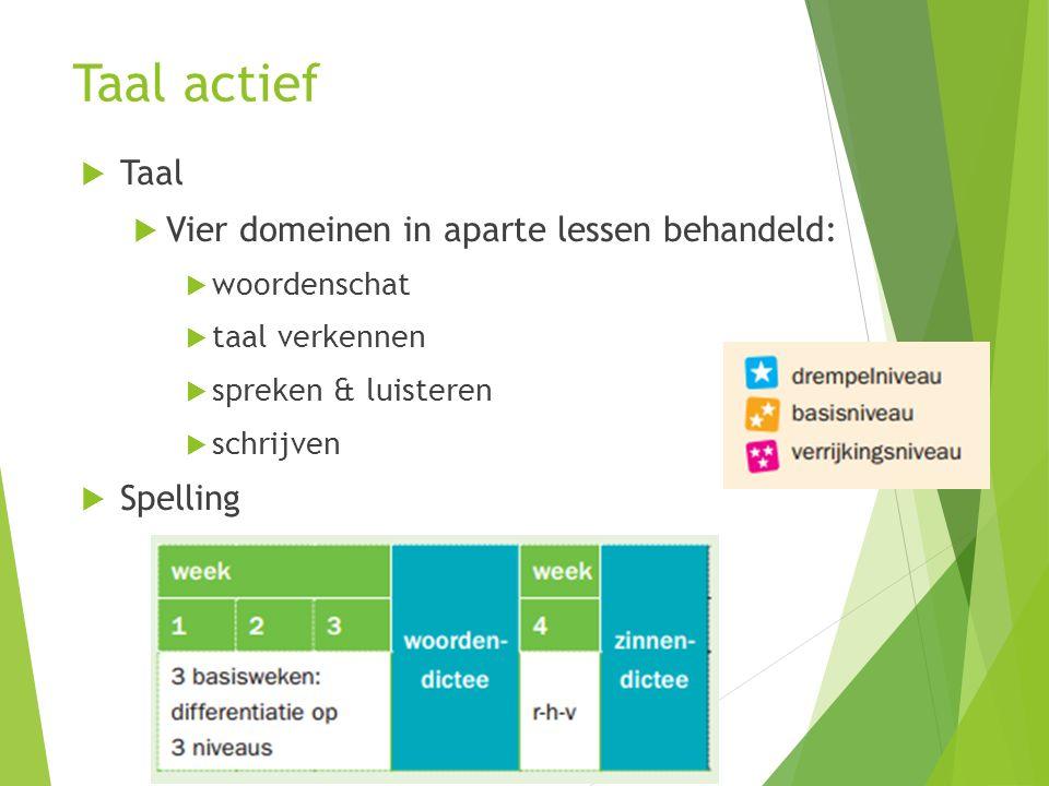 Taal actief Taal Vier domeinen in aparte lessen behandeld: Spelling