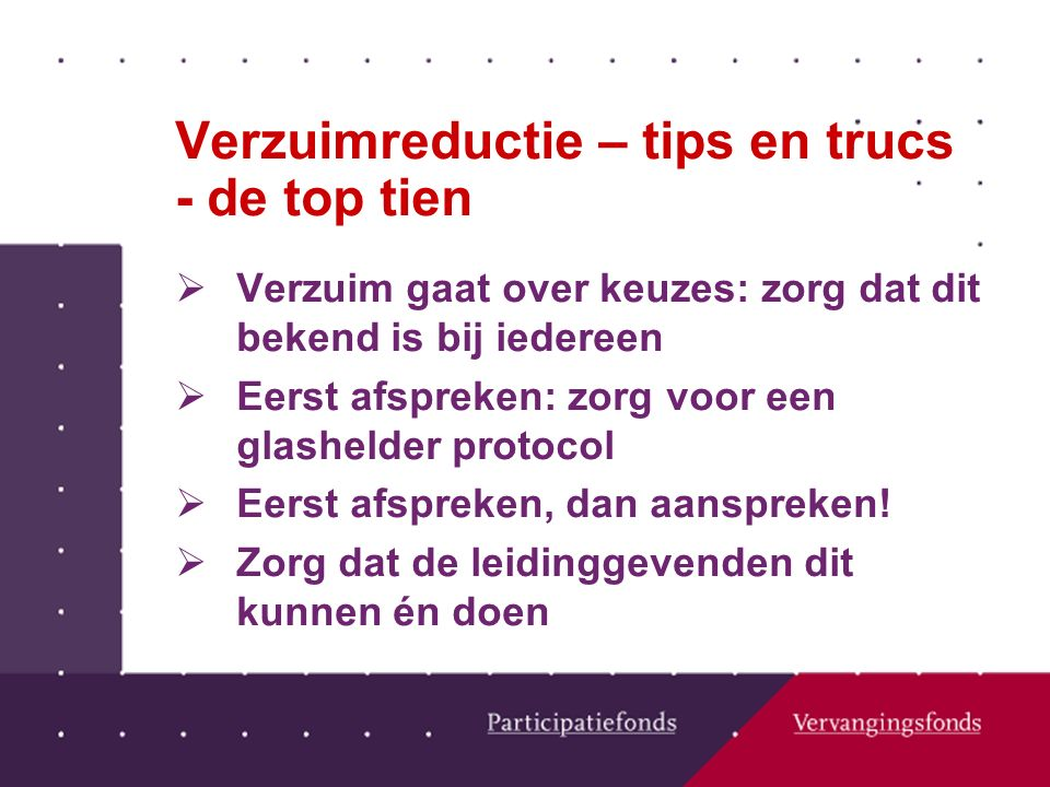 Verzuimreductie – tips en trucs - de top tien