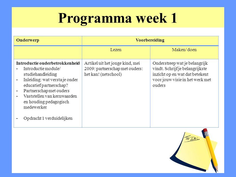 Programma week 1 Onderwerp Voorbereiding Lezen Maken/ doen