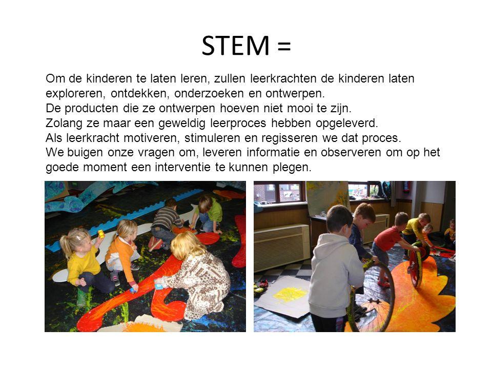 STEM = Om de kinderen te laten leren, zullen leerkrachten de kinderen laten exploreren, ontdekken, onderzoeken en ontwerpen.