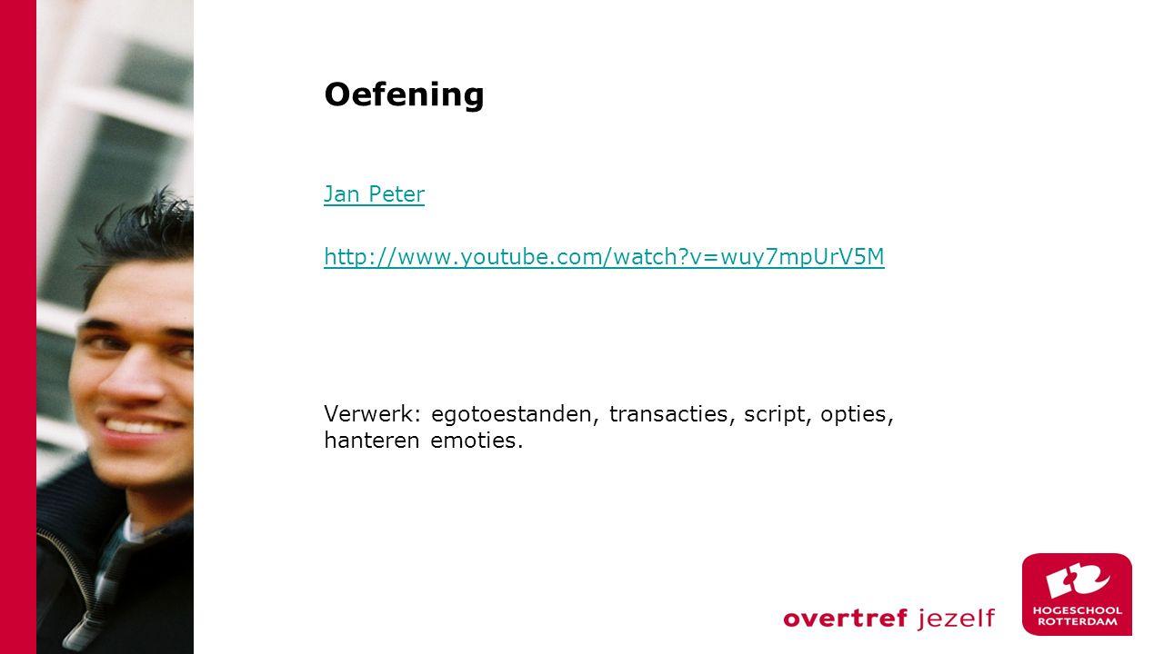 Oefening Jan Peter http://www.youtube.com/watch v=wuy7mpUrV5M Verwerk: egotoestanden, transacties, script, opties, hanteren emoties.