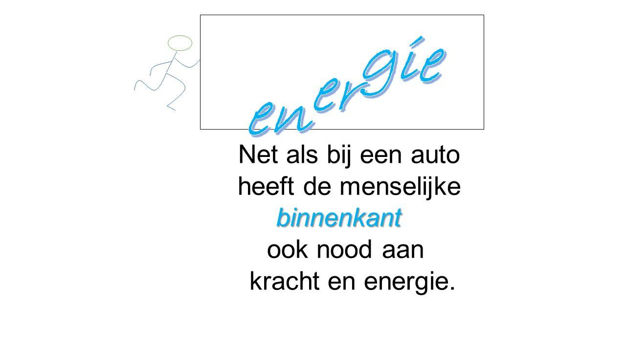 energie Net als bij een auto heeft de menselijke binnenkant ook nood aan kracht en energie.