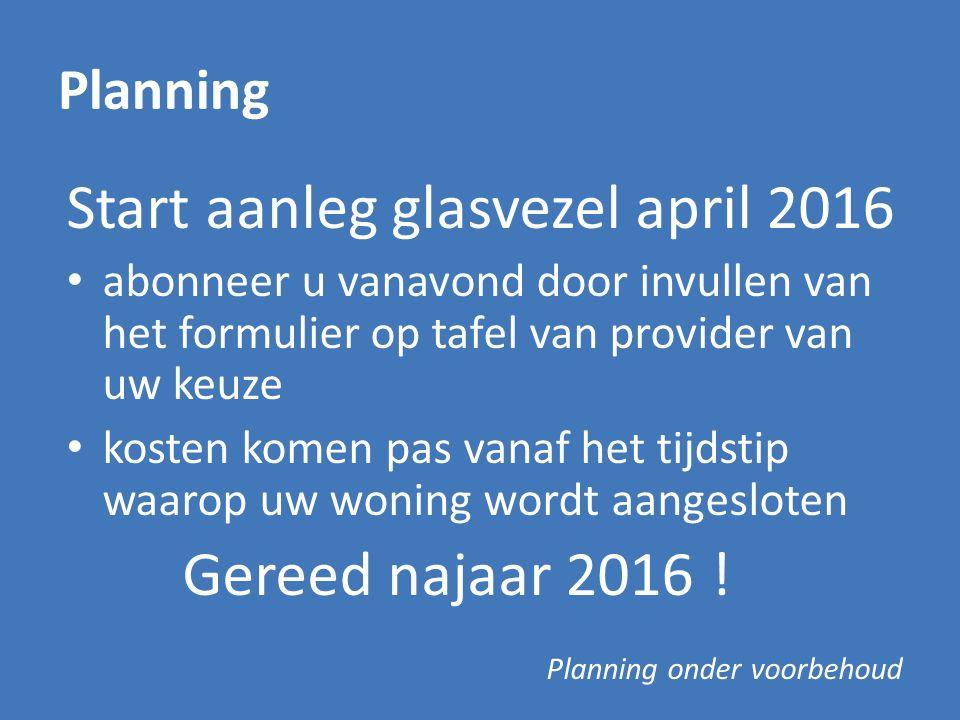 Start aanleg glasvezel april 2016