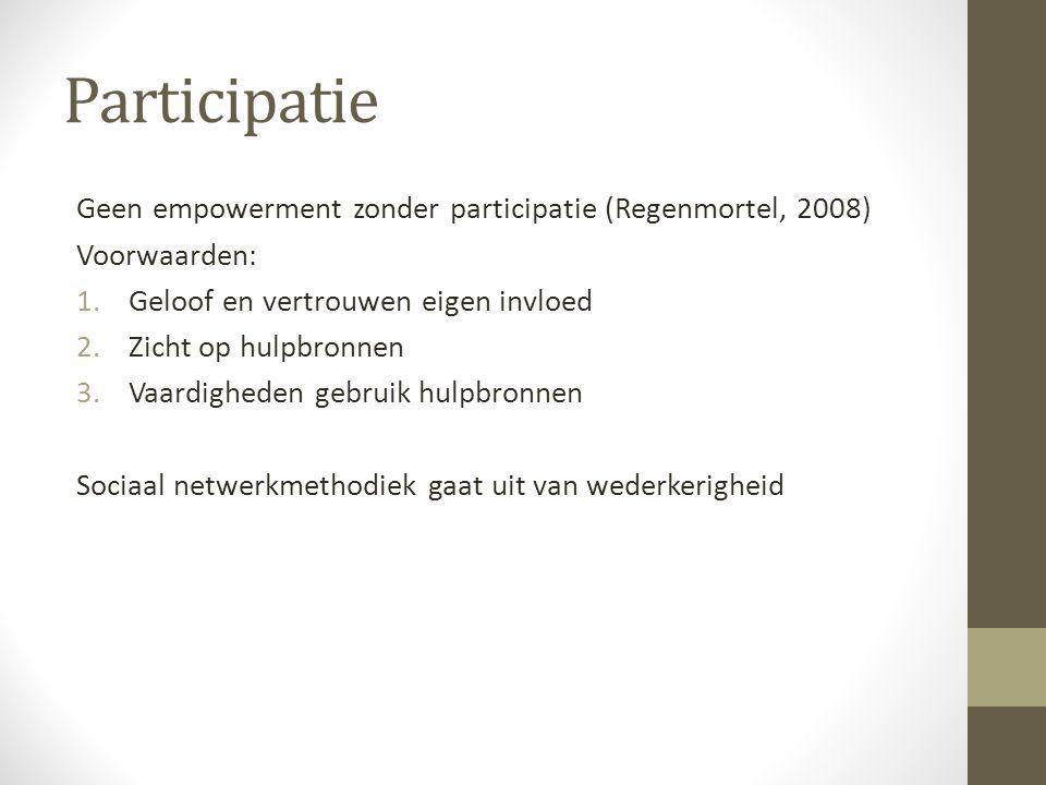 Participatie Geen empowerment zonder participatie (Regenmortel, 2008)