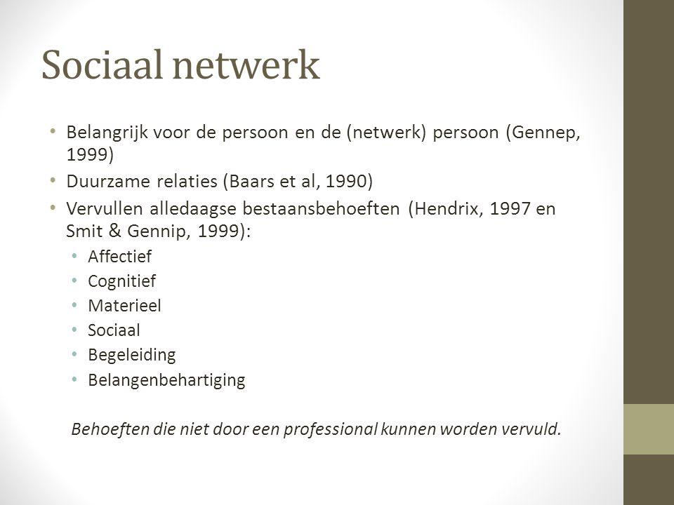 Sociaal netwerk Belangrijk voor de persoon en de (netwerk) persoon (Gennep, 1999) Duurzame relaties (Baars et al, 1990)