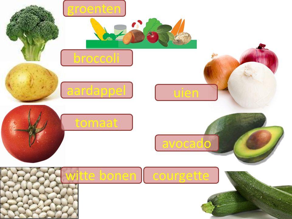 groenten broccoli aardappel uien tomaat avocado witte bonen courgette