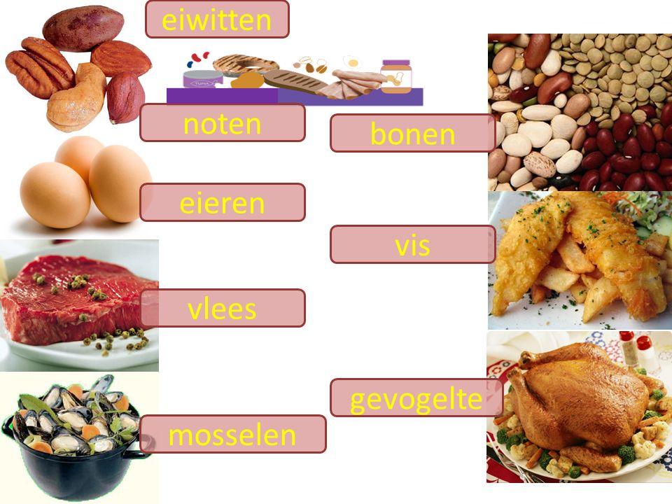eiwitten noten bonen eieren vis vlees gevogelte mosselen