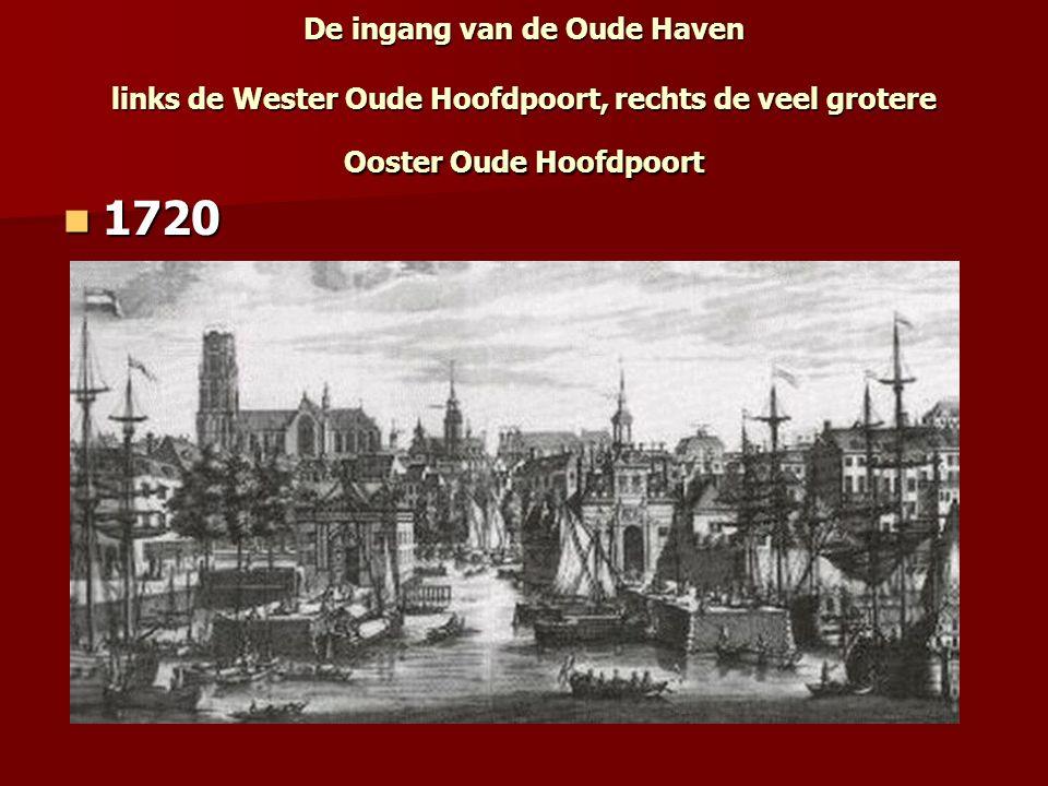 De ingang van de Oude Haven links de Wester Oude Hoofdpoort, rechts de veel grotere Ooster Oude Hoofdpoort