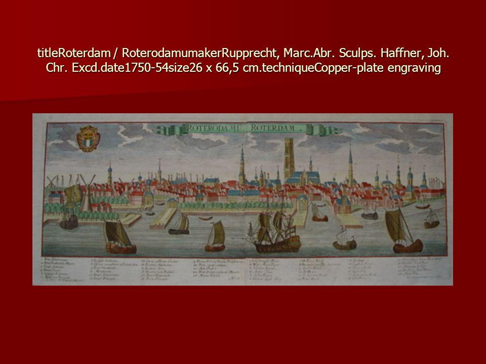 titleRoterdam / RoterodamumakerRupprecht, Marc. Abr. Sculps