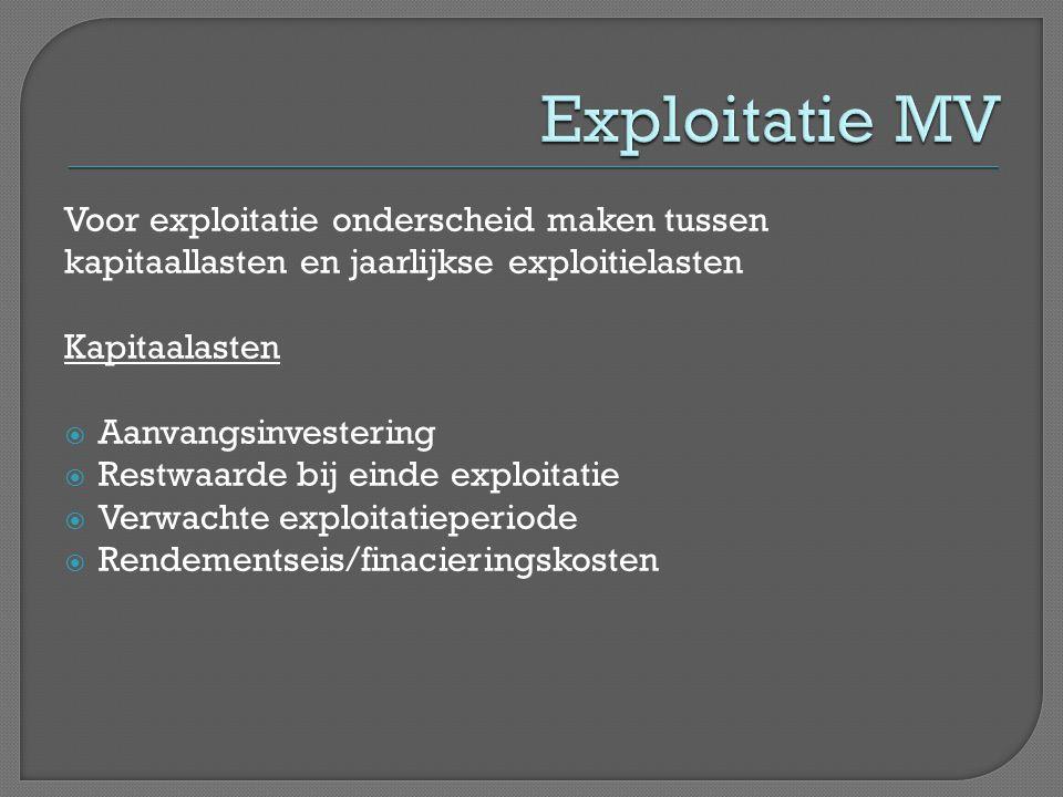 Exploitatie MV Voor exploitatie onderscheid maken tussen kapitaallasten en jaarlijkse exploitielasten.