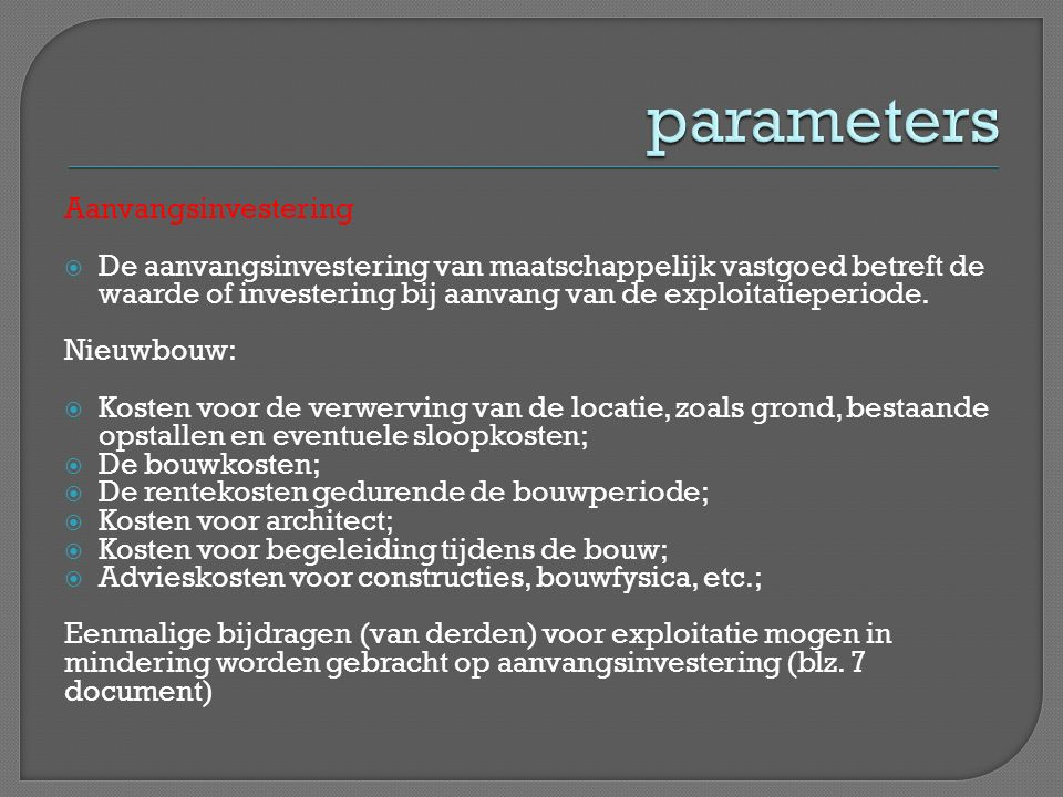 parameters Aanvangsinvestering
