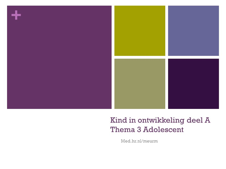 Kind in ontwikkeling deel A Thema 3 Adolescent