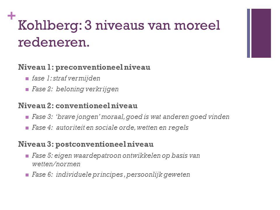 Kohlberg: 3 niveaus van moreel redeneren.