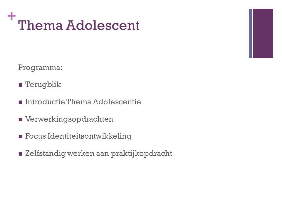 Thema Adolescent Programma: Terugblik Introductie Thema Adolescentie