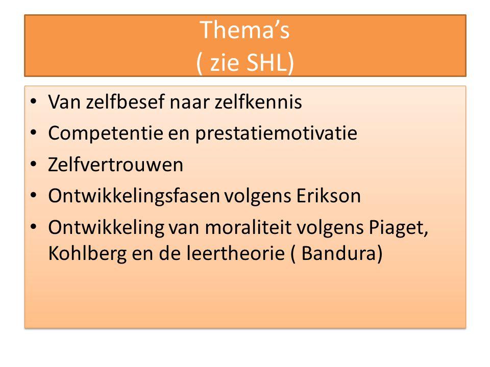 Thema's ( zie SHL) Van zelfbesef naar zelfkennis