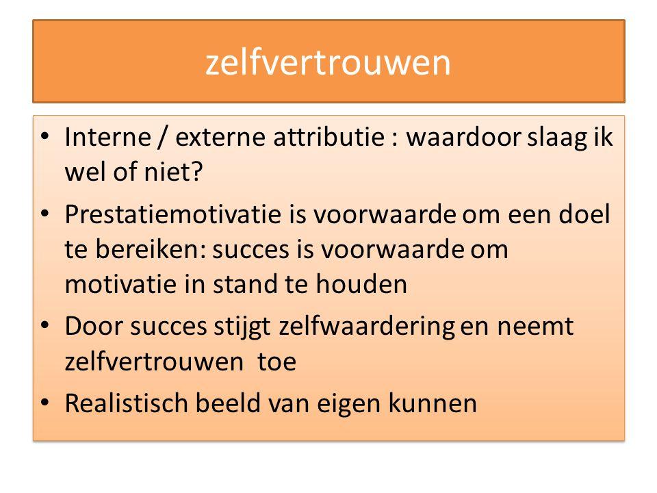 zelfvertrouwen Interne / externe attributie : waardoor slaag ik wel of niet
