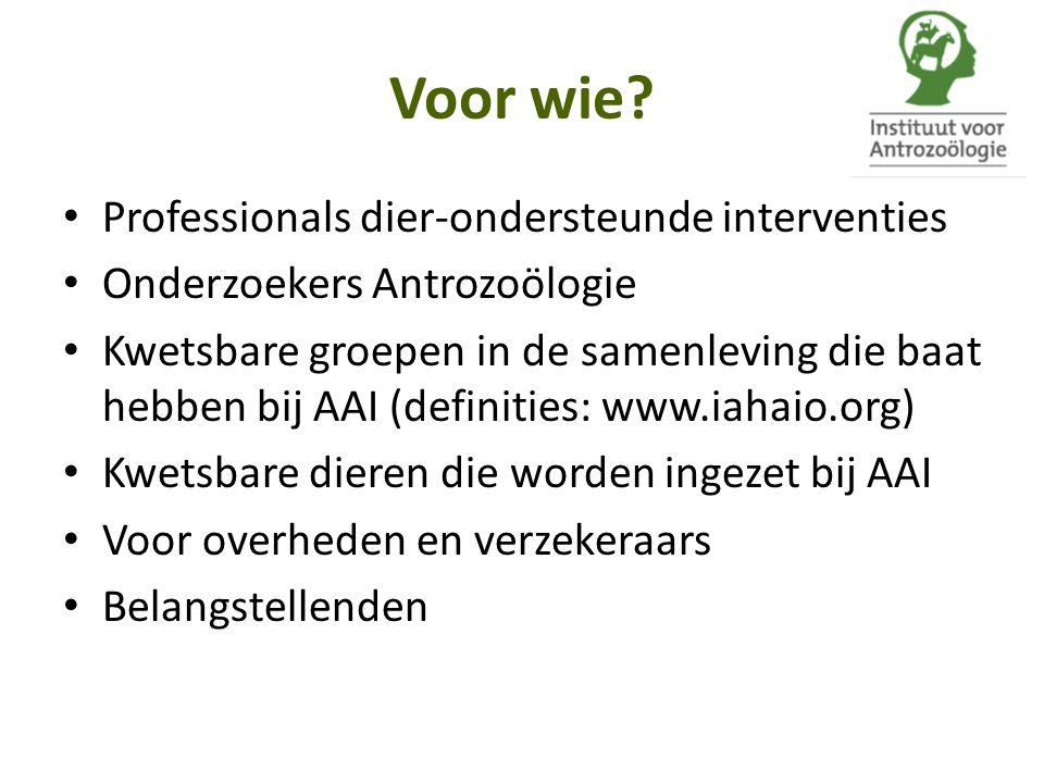 Voor wie Professionals dier-ondersteunde interventies
