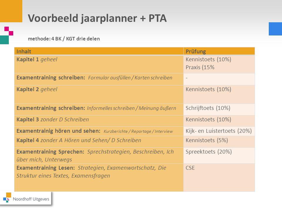 Voorbeeld jaarplanner + PTA methode: 4 BK / KGT drie delen