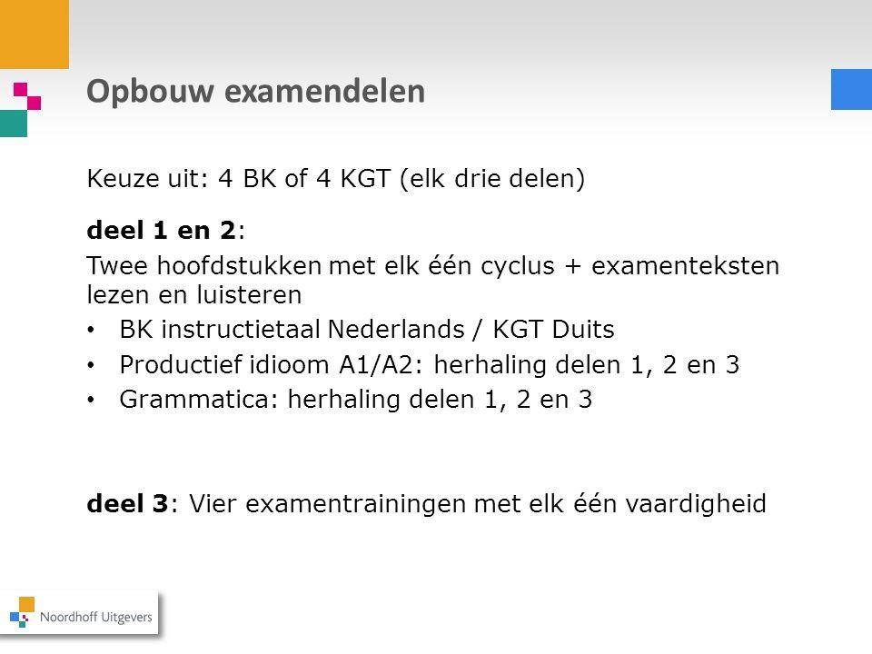 Opbouw examendelen Keuze uit: 4 BK of 4 KGT (elk drie delen)