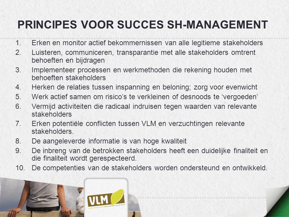 Principes voor SUCCES SH-management