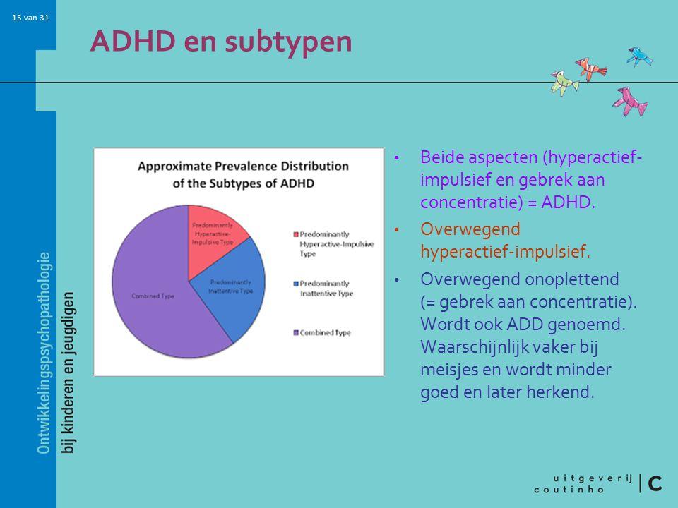 ADHD en subtypen Beide aspecten (hyperactief-impulsief en gebrek aan concentratie) = ADHD. Overwegend hyperactief-impulsief.