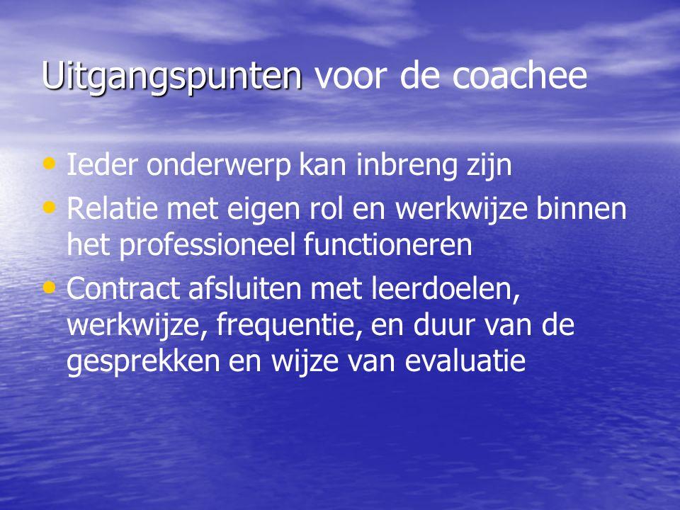Uitgangspunten voor de coachee