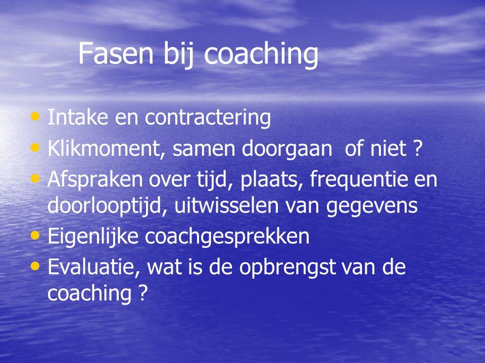 Fasen bij coaching Intake en contractering