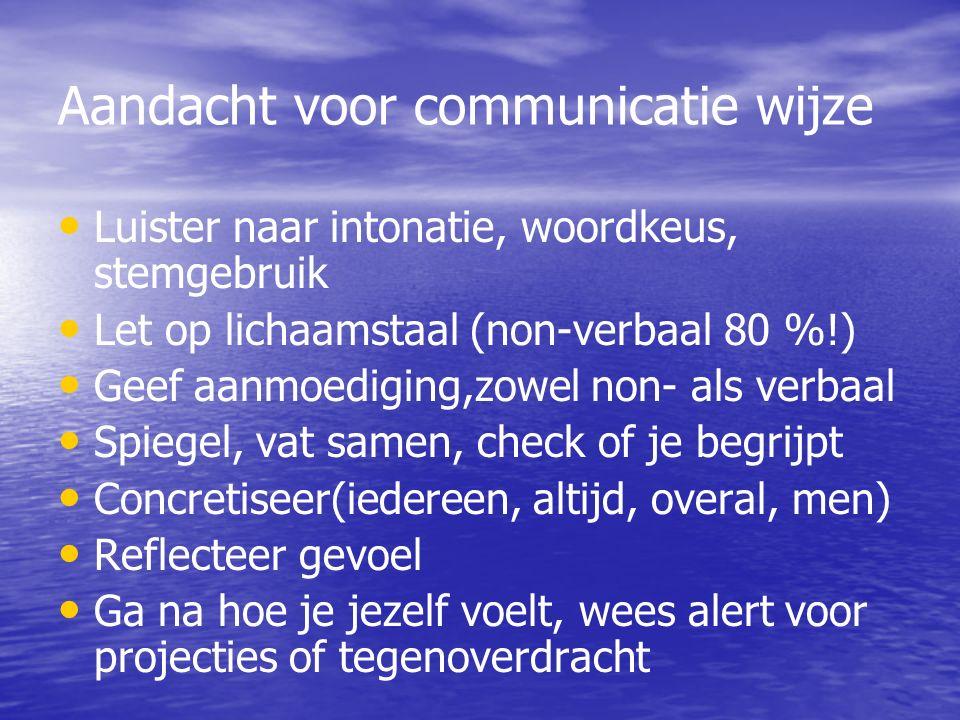 Aandacht voor communicatie wijze